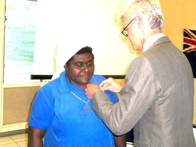 Sister Loraine awarded by Australian High Commissioner Ian Kemish